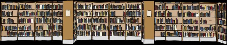 Libros en la biblioteca.